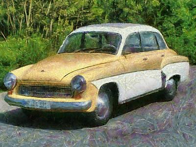 Retro Car Wartburg Art Print by Georgi Dimitrov