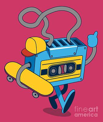 Musician Digital Art - Retro Cassette, Skater Character Design by Braingraph