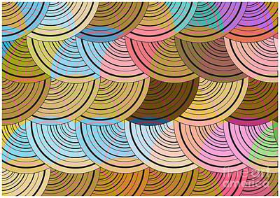 Dot Art Wall Art - Digital Art - Retro Circles Background by Pizla09