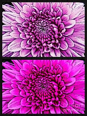Photograph - Retro Dahlias Collage by Joan-Violet Stretch