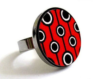 Adjustable Ring Jewelry - Retro Dreams In Black White Red Ring by Rony Bank