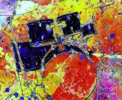 Drum Kit Digital Art - Retro Drumkit by Brian Raggatt