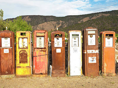 Rusty Old Car Wall Art - Photograph - Retro Gas Pumps In Outdoor Museum Nm by Helovi