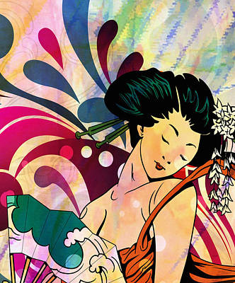 Retro Geisha Girl Print by Georgiana Romanovna