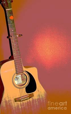 Manipulation Photograph - Retro Guitar by Sophie Vigneault