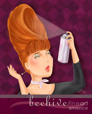 Hairstyle Mixed Media - Retro Hairdos-beehive by Shari Warren