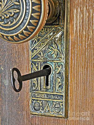 Photograph - Retro Intricate Door Knob And Metal Key Art Prints by Valerie Garner
