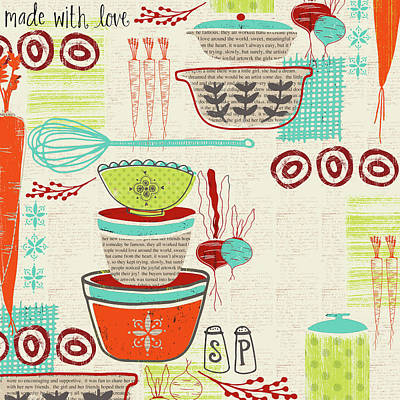 With Love Painting - Retro Kitchen by Katie Doucette