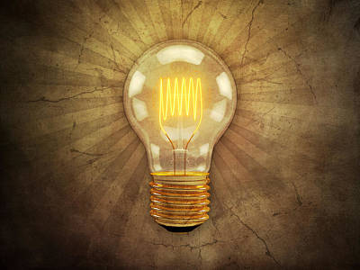 Bright Digital Art - Retro Light Bulb by Scott Norris
