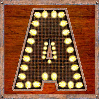 Digital Art - Retro Marquee Lighted Letter A by Mark E Tisdale