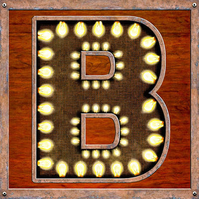 Digital Art - Retro Marquee Lighted Letter B by Mark Tisdale