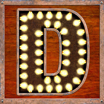 Digital Art - Retro Marquee Lighted Letter D by Mark Tisdale