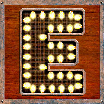 Digital Art - Retro Marquee Lighted Letter E by Mark Tisdale