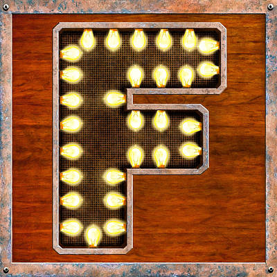 Digital Art - Retro Marquee Lighted Letter F by Mark Tisdale