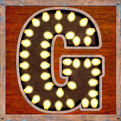 Digital Art - Retro Marquee Lighted Letter G by Mark Tisdale