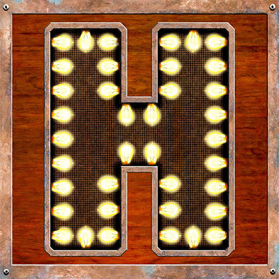 Digital Art - Retro Marquee Lighted Letter H by Mark Tisdale