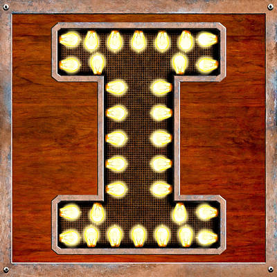 Digital Art - Retro Marquee Lighted Letter I by Mark Tisdale