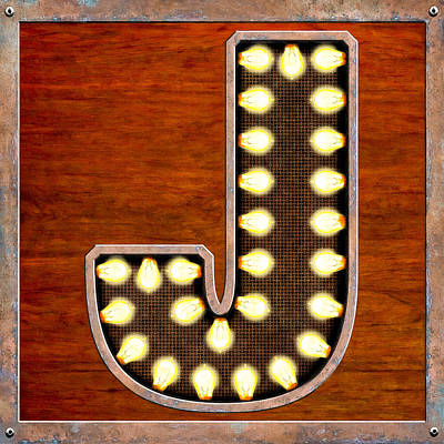 Digital Art - Retro Marquee Lighted Letter J by Mark Tisdale