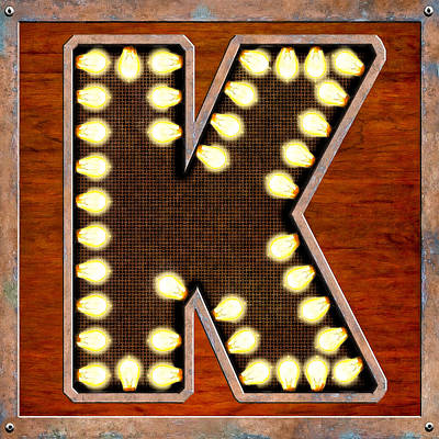 Digital Art - Retro Marquee Lighted Letter K by Mark Tisdale