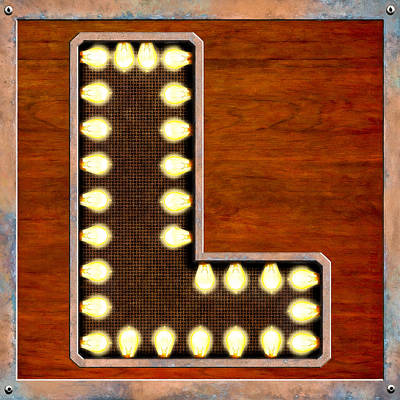 Digital Art - Retro Marquee Lighted Letter L by Mark E Tisdale