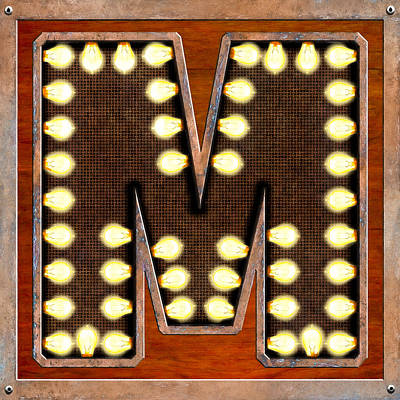 Letter M Digital Art - Retro Marquee Lighted Letter M by Mark Tisdale