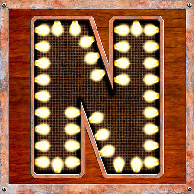 Digital Art - Retro Marquee Lighted Letter N by Mark Tisdale