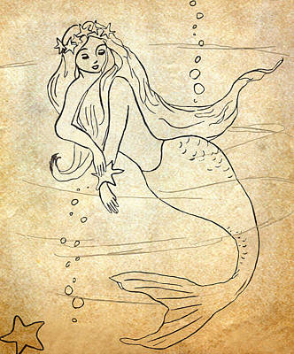 Retro Mermaid Art Print by Rosalie Scanlon