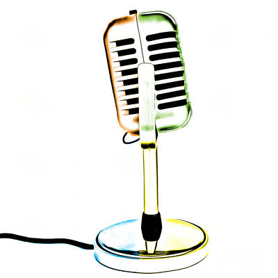 Retro Microphone Pop Art 1 Art Print by Edward Fielding