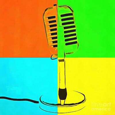 Retro Microphone Pop Art 2 Art Print by Edward Fielding