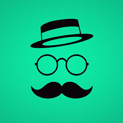 Retro Minimal Vintage Face With Moustache And Glasses Art Print