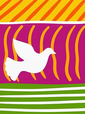 Fuschia Mixed Media - Retro Minimalist Bird by Marlene Kaltschmitt