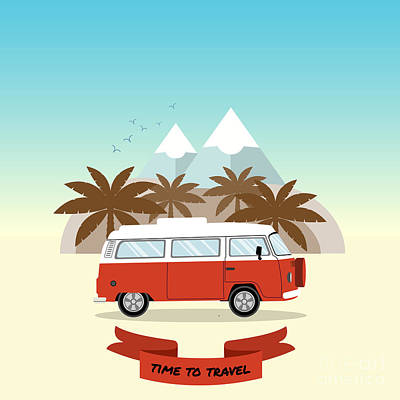 Red Digital Art - Retro Minivan With Palm Trees And by Yurgo