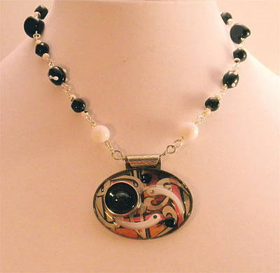 Jewelry - Retro Mod Pop Art Pendant Necklace by Outre Art  Natalie Eisen