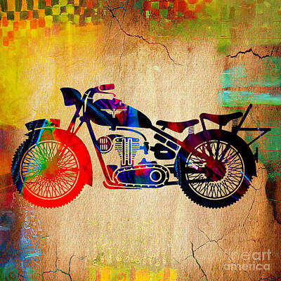 Retro Mixed Media - Retro Motorcycle by Marvin Blaine