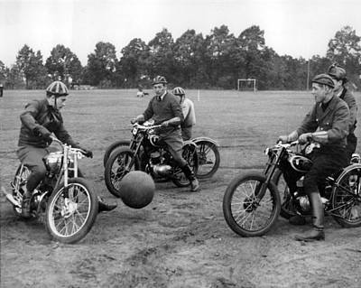 Ball Field Photograph - Retro Motorcycle Soccer  by Retro Images Archive