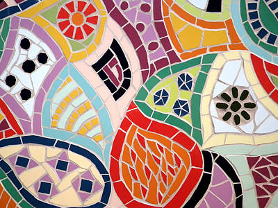 Mixed Media - Retro Multi-coloured Mosaic Pattern by Felicity Ball