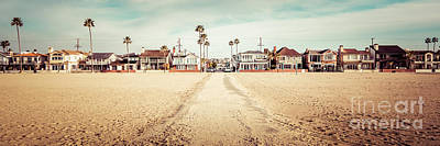 Retro Newport Beach Panorama At 11th Street And Balboa Art Print