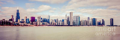 Chicago Skyline Photograph - Retro Panorama Chicago Skyline Picture by Paul Velgos