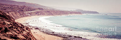 Rustic Beach Decor Wall Art - Photograph - Retro Panorama Photo Of Laguna Beach California by Paul Velgos