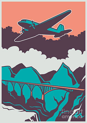 Digital Art - Retro Poster With Airplane. Vector by Radoman Durkovic