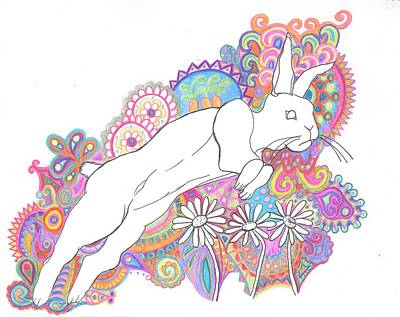 Retro Rabbit 2 Art Print by Cherie Sexsmith