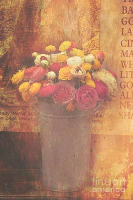Photograph - Retro Ranunculus Still Life by Peggy Hughes