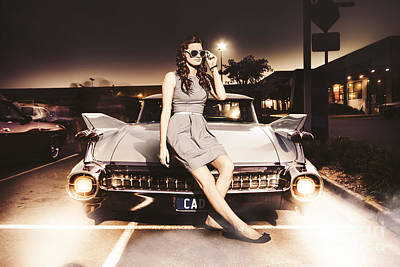 Retro Car Photograph - Retro Sixties Pinup Girl On Vintage Car by Jorgo Photography - Wall Art Gallery