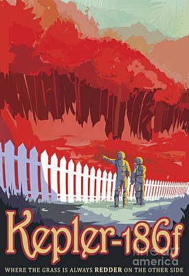 Retro Space Poster Of Kepler-186f Art Print