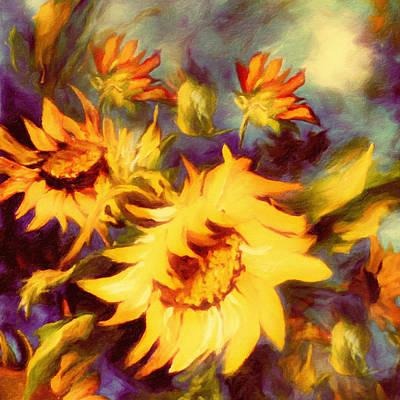 Flower Painting - Retro Sunflowers by Georgiana Romanovna
