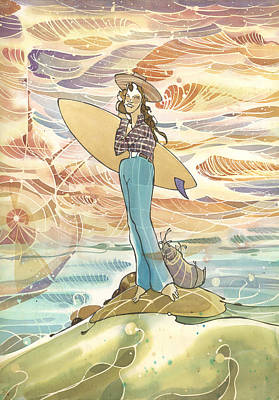 Painting - Retro Surfer by Harry Holiday