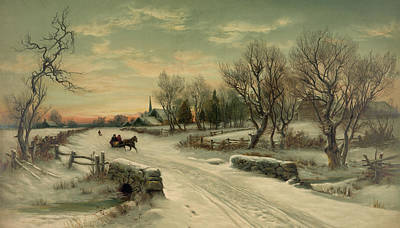 Photograph - Retro Vintage Rural Winter Scene by John Stephens
