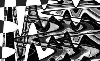 Black And White Photograph - Retro Waves Abstract - Black And White by Natalie Kinnear