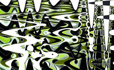 Retro Waves Abstract - Lime Green Art Print by Natalie Kinnear