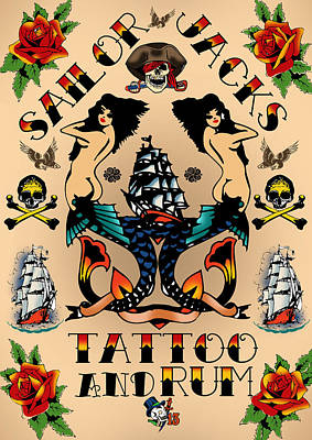Old School Tattoos Digital Art - Retrotattoo Poster by Viv Griffiths